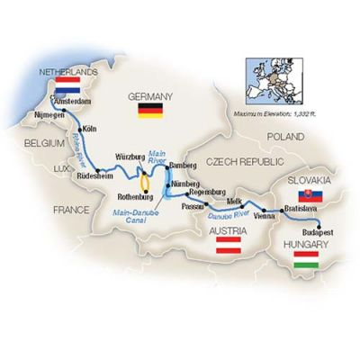 Map for Amsterdam to Budapest by Riverboat - Southbound