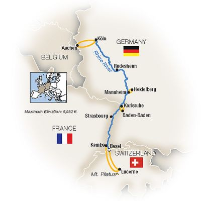 Map for Christmas Markets Along the Rhine - Northbound