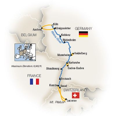 Map for Christmas Markets Along the Rhine  - Southbound