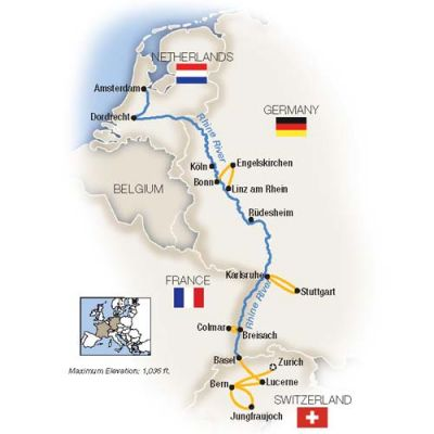 Map for The Rhine, Swiss Alps & Amsterdam - Northbound