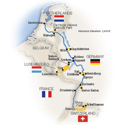 Map for The Rhine and Moselle - Northbound