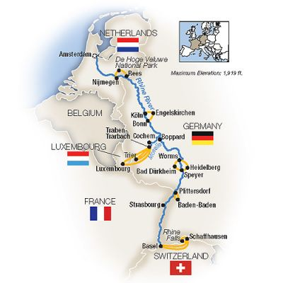 Map for The Rhine and Moselle  - Southbound