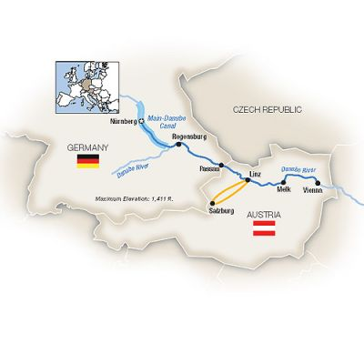 Map for Christmas Markets Along the Danube - Eastbound