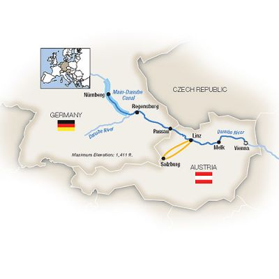 Map for Christmas Markets Along the Danube - Westbound