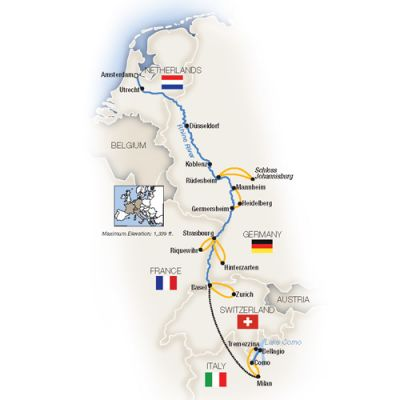 Map for Rhine Enchantment, Amsterdam to Milan - Southbound