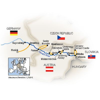 Map for Danube Reflections - Eastbound