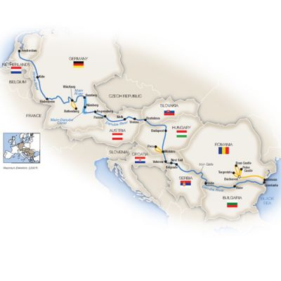 Map for Grand European Cruise - Westbound