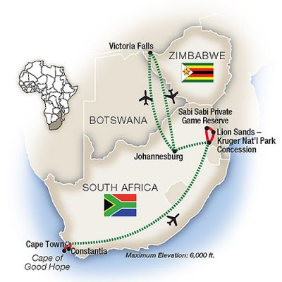 Map for South Africa: An Elegant Adventure