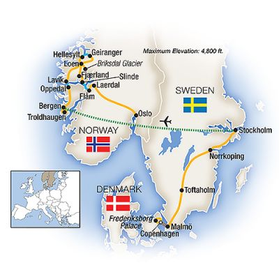 Map for Scandinavia