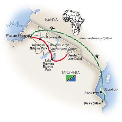 Map for Tanzania: Serengeti to Zanzibar