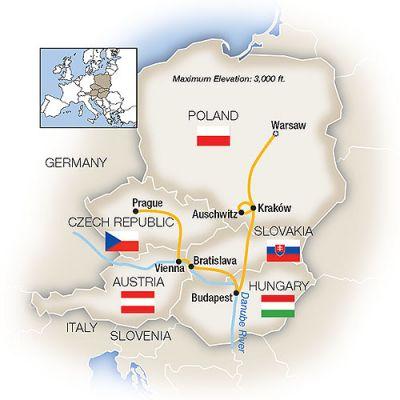 Map for Warsaw, Budapest, Vienna & Prague