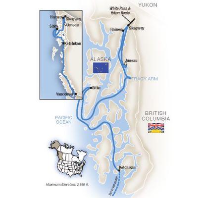Map for Alaska's Inside Passage - Southbound