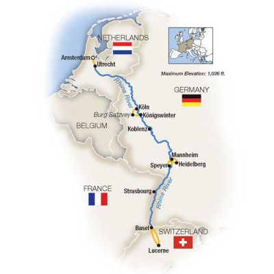 Map for Castles on the Rhine: Family Riverboat Adventure - Southbound