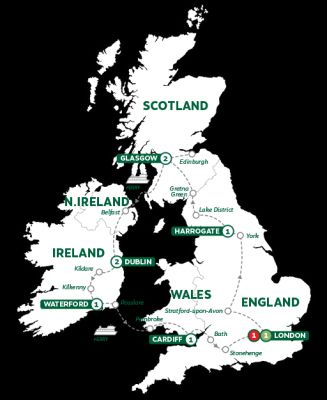 Map for Britain and Ireland Highlights Summer 2019