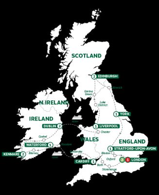Map for Wonders of Britain and Ireland Summer 2019