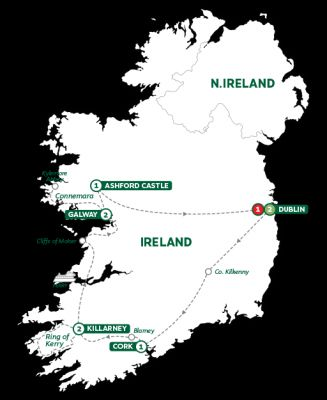 Map for Iconic Ireland and Ashford Castle Summer 2019