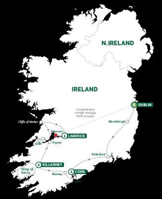 Map for Treasures of Ireland End Dublin Summer 2019