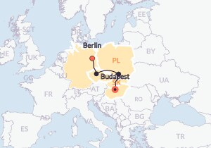 Map for Berlin to Budapest