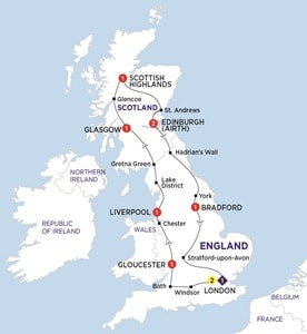 Map for England and Scotland Heritage Summer 2019