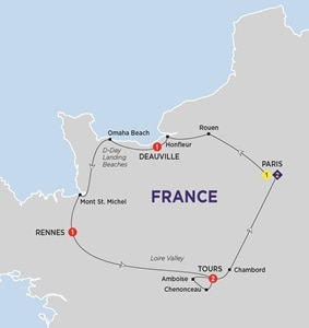 Map for Jewels of France including Normandy Summer 2019
