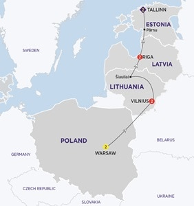 Map for Highlights of the Baltics New Summer 2019