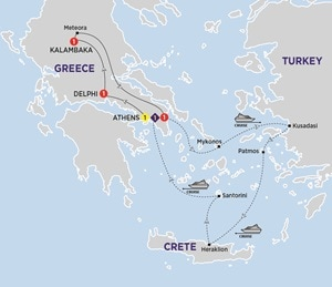 Map for Highlights of Greece with 3Day Aegean Cruise Moderate A
