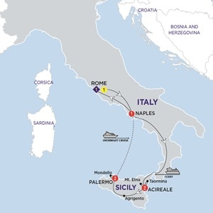 Map for Highlights of Sicily Summer 2019