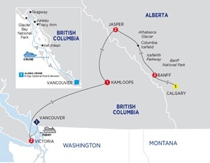Map for Wonders of the Canadian Rockies Summer 2019