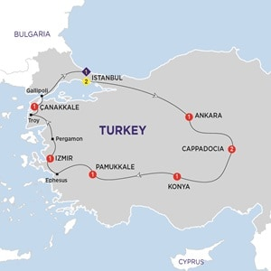 Map for Wonders of Turkey Summer 2019