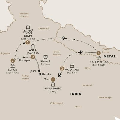 Map for Classical India with Nepal end Delhi (Summer 2019) - Luxury Gold