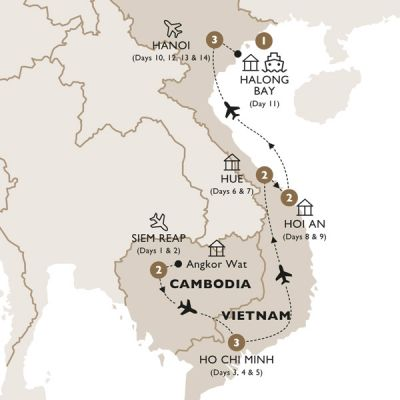 Map for Cambodia & Vietnam in Style (Summer 2019) - Luxury Gold