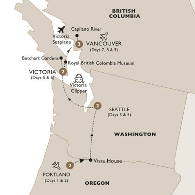 Map for America's Captivating Pacific Northwest (Summer 2019) - Luxury Gold