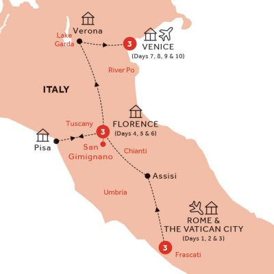 Map for Easy Pace Italy (Summer 2019)