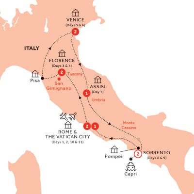 Map for Best of Italy end Rome (Summer 2019)