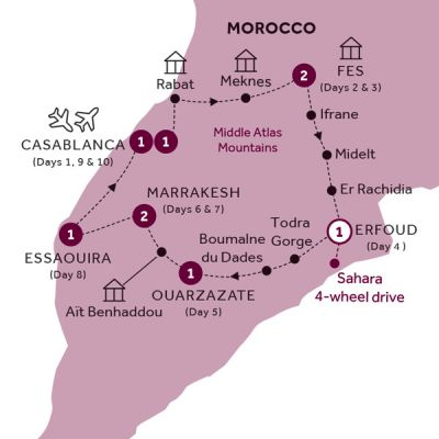 Map for Best of Morocco (Summer 2019)