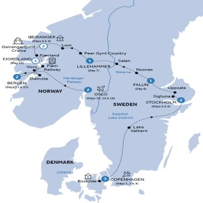 Map for Spectacular Scandinavia & its Fjords (Preview 2020)