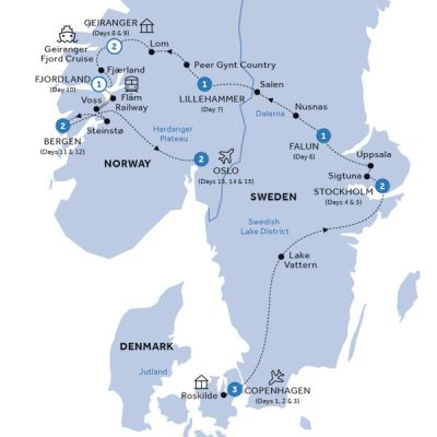 Map for Spectacular Scandinavia & its Fjords (Summer 2019)