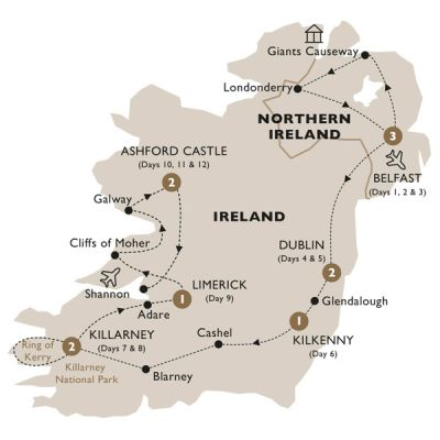 Map for Ultimate Ireland (Summer 2019) - Luxury Gold