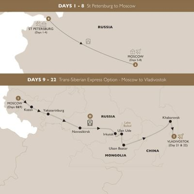 Map for Remarkable Russia with Trans-Siberian Option (Summer 2019) - Luxury Gold