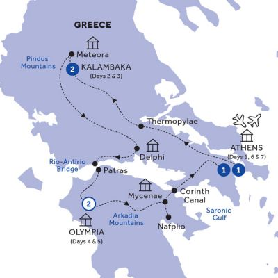 Map for Glories of Greece (Summer 2019)