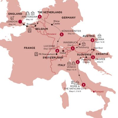 Map for Splendid Europe (Summer 2019)