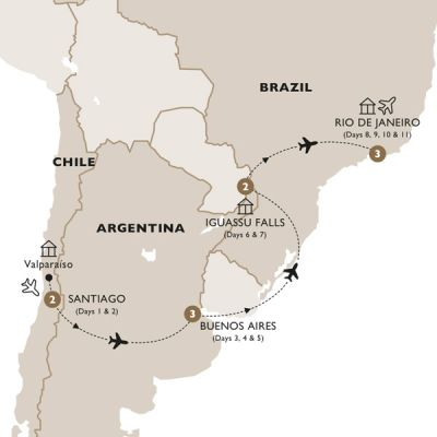Map for Classic South America (Summer 2019) - Luxury Gold
