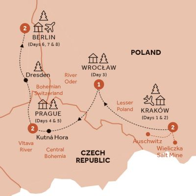 Map for Christmas Markets of Poland, Prague & Germany
