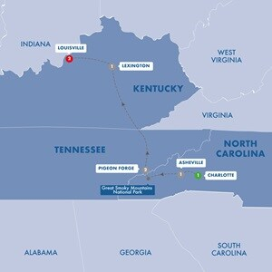 Map for Heart of the South with the Great Smoky Mountains Summer 2020