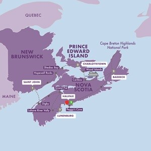 Map for Enchanting Canadian Maritimes Summer 2020
