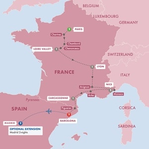 Map for Highlights of France and Barcelona Summer 2019