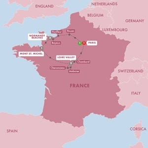 Map for The Treasures of France including Normandy Summer 2019