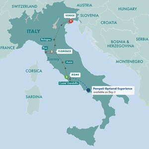 Map for Great Italian Cities Summer 2019
