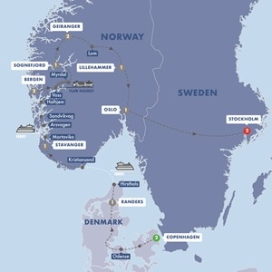 Map for Scenic Scandinavia and its Fjords Summer 2019
