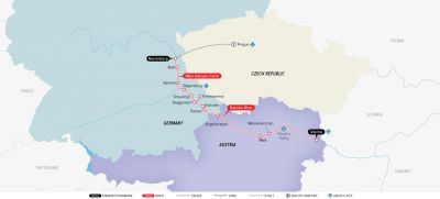 Map for Authentic Danube & Prague 2019 (Prague to Vienna)